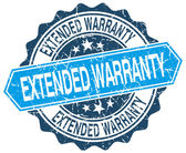 Extended warranty blue round grunge stamp on white — Stock Vector