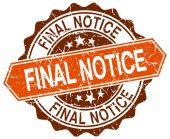 Final notice orange round grunge stamp on white — Stock Vector