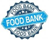 白色食物银行蓝色圆 grunge 邮票 — 图库矢量图片