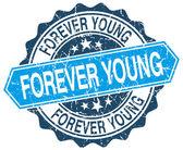 Para sempre jovem azul redondo carimbo grunge em branco — Vetor de Stock