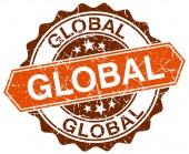 Sello de global grunge redonda naranja en blanco — Vector de stock