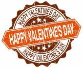 Mutlu Sevgililer günü turuncu yuvarlak beyaz grunge damgası — Stok Vektör