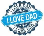 I love dad blue round grunge stamp on white — Stock Vector