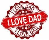 I love dad red round grunge stamp on white — Stock Vector