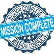 Mission complete blue round grunge stamp on white — Stockvector  #78342658