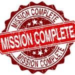 Misja kompletny czerwony nieczysty okrągły znaczek na biały — Wektor stockowy  #78342668
