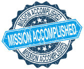 Mission accomplished blue round grunge stamp on white — Stock Vector