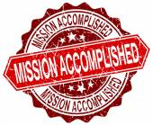 Mission accomplished red round grunge stamp on white — Stock Vector