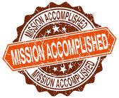 Mission accomplished orange round grunge stamp on white — Stock Vector