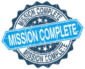 Mission complete blue round grunge stamp on white — Stock Vector