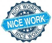 Miły praca niebieski okrągły znaczek ilustracja na białym — Wektor stockowy
