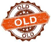 Old orange round grunge stamp on white — Stock Vector
