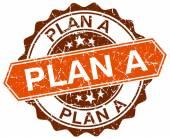 Plan a orange round grunge stamp on white — Stock Vector