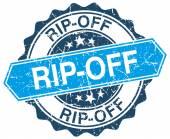 Bollo di grunge rotondo blu rip-off su bianco — Vettoriale Stock
