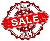 Bollo di grunge rotondo rosso di vendita su bianco — Vettoriale Stock