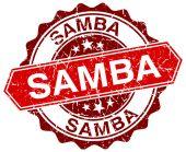 Samba red round grunge stamp on white — Stock Vector