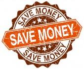 Save money orange round grunge stamp on white — Stock Vector