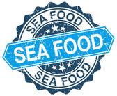 Fruits de mer bleu rond timbre grunge sur blanc — Vecteur