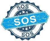 Sos blue round grunge stamp on white — Stock Vector