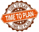 Time to plan orange round grunge stamp on white — Stock Vector
