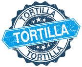 Tortilla niebieski okrągły znaczek ilustracja na białym — Wektor stockowy