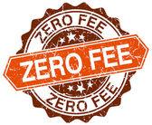 Zero fee orange round grunge stamp on white — Stock Vector