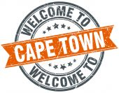 Welcome to Cape Town orange round ribbon stamp — Stock Vector