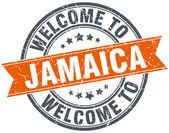 Bem-vindo ao carimbo de fita laranja redonda de Jamaica — Vetor de Stock