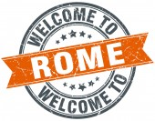 Welcome to Rome orange round ribbon stamp — Stock Vector