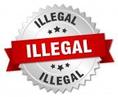 赤いリボンと違法な 3 d シルバー バッジ — ストックベクタ