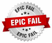 Epic fail 3d silver badge with red ribbon — Stock Vector