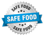 Safe food 3d silver badge with blue ribbon — Stock Vector
