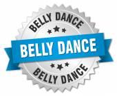 Belly dance 3d znaczek srebrny z niebieską wstążką — Wektor stockowy