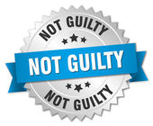 Not guilty 3d silver badge with blue ribbon — Stock Vector