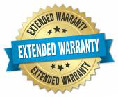 Extended warranty 3d gold badge with blue ribbon — Stock Vector