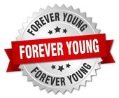 Wiecznie młody 3d znaczek srebrny z czerwoną wstążką — Wektor stockowy