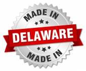 Gemaakt in Delaware zilveren badge met rood lint — Stockvector