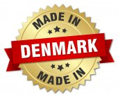 Made in Denmark gold badge with red ribbon — Stock Vector