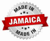 Made in Jamaica silver badge with red ribbon — Stock Vector