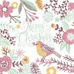 Merry Christmas card with bird — Stock Vector #75028991