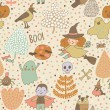 Halloween cartoon seamless pattern — Vecteur #75027475