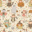 Cartoon Halloween seamless pattern — Vecteur #75027577