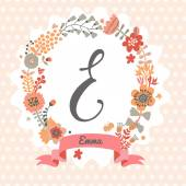 Floral wreath with letter E — Stock Vector