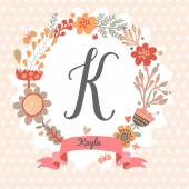 Floral wreath with letter K — Stock Vector