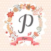 Floral wreath with letter P — Stock Vector