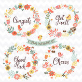 Floral wreaths in  bright colors — Stock Vector