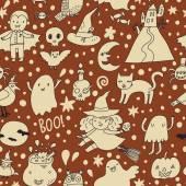 Halloween seamless cartoon pattern — Stock Vector