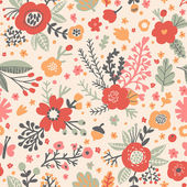 Poppy flowers seamless pattern — Stock Vector