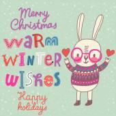 Christmas card with rabbit — Stock Vector