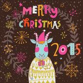Christmas card with cartoon goat — Stock Vector